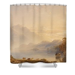 Ben Venue And The Trossachs Seen From Loch Achray Shower Curtain by Anthony Vandyke Copley Fielding