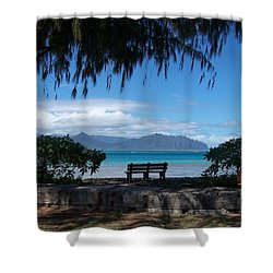 Bench Of Kaneohe Bay Hawaii Shower Curtain