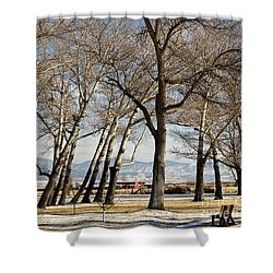 Shower Curtain featuring the photograph Bench With A View by Sue Smith