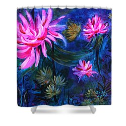 Beneath Dark Lotus Waters Shower Curtain