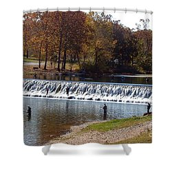 Shower Curtain featuring the photograph Bennett Springs Spillway by Sara  Raber