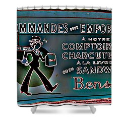 Ben's Deli Restaurant Fameux Comptoir Charcuterie Smoked Meat Take-0ut Montreal Memorabilia Shower Curtain by Carole Spandau
