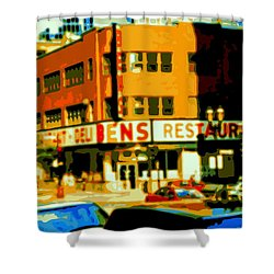 Ben's Restaurant Vintage Montreal Landmarks Nostagic Memories And Scenes Of A By Gone Era Shower Curtain by Carole Spandau