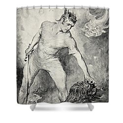 Beowulf Shears Off The Head Of Grendel Shower Curtain by John Henry Frederick Bacon