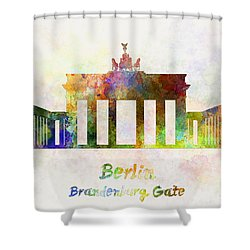 Berlin Landmark Brandenburg Gate In Watercolor Shower Curtain by Pablo Romero