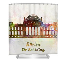 Berlin Landmark The Reichstag In Watercolor Shower Curtain by Pablo Romero