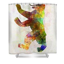 Berlin Symbol In Watercolor Shower Curtain by Pablo Romero