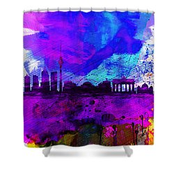 Berlin Watercolor Skyline Shower Curtain