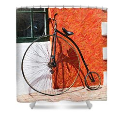 Shower Curtain featuring the photograph Bermuda Antique Bicycle by Verena Matthew
