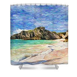 Bermuda Beach Shower Curtain by Verena Matthew