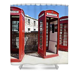 Bermuda Phone Boxes 2 Shower Curtain by Richard Reeve
