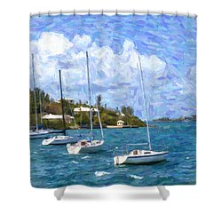 Shower Curtain featuring the photograph Bermuda Sailboats by Verena Matthew