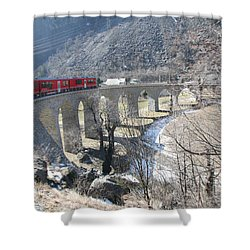 Shower Curtain featuring the photograph Bernina Express In Winter by Travel Pics