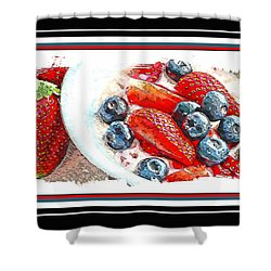 Berries And Yogurt Illustration - Food - Kitchen Shower Curtain by Barbara Griffin
