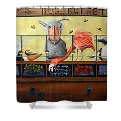 Bert's Bug Buffet Shower Curtain by Leah Saulnier The Painting Maniac