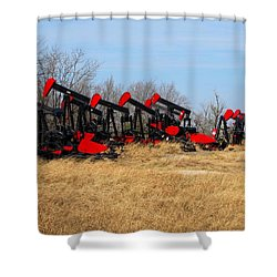 Bethlehem Pump Jacks Shower Curtain by Keith Stokes