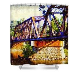 Train Trestle Bridge Shower Curtain by Janine Riley
