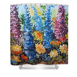 Shower Curtain featuring the painting Bev's Garden by Megan Walsh