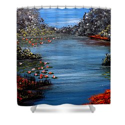 Beyond The Bridge At Lily Pond Shower Curtain by Darren Robinson