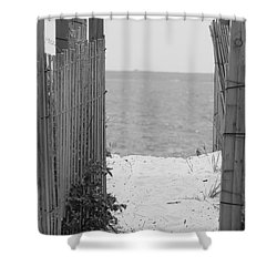 Beyond The Dunes Bw Shower Curtain by Barbara Bardzik