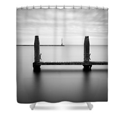 Beyond The Jetty Shower Curtain by Dave Bowman