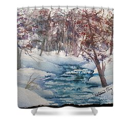 Beyond The Pond Shower Curtain by Mohamed Hirji