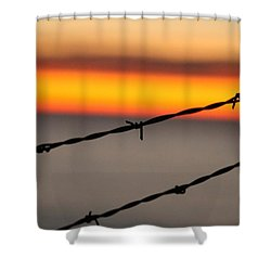 Beyond The Wire Shower Curtain by Amy Gallagher