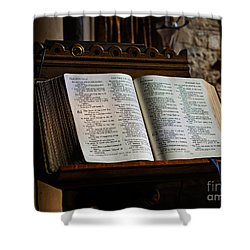 Bible Open On A Lectern Shower Curtain by Louise Heusinkveld