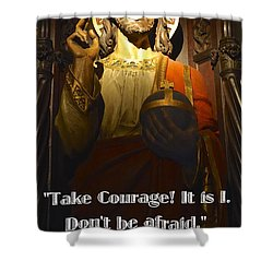Shower Curtain featuring the photograph Bible Quote  Mark 6  50 by Joan Reese