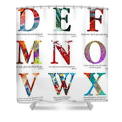 Bible Verse Alphabet Poster Shower Curtain by Mark Lawrence