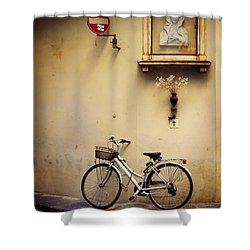Bicycle And Madonna Shower Curtain by Valerie Reeves