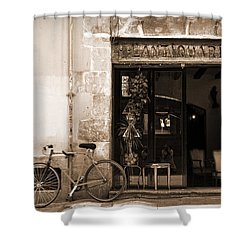 Bicycle And Reflections At L'antiquari Bar  Shower Curtain by RicardMN Photography