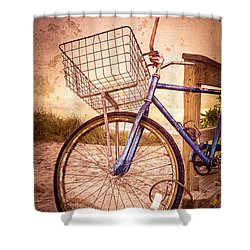 Bicycle At The Beach Shower Curtain by Debra and Dave Vanderlaan