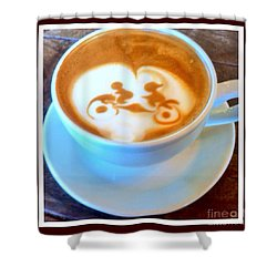 Bicycle Built For Two Latte Shower Curtain