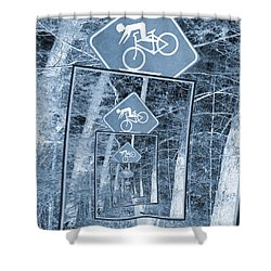 Bicycle Caution Traffic Sign Shower Curtain