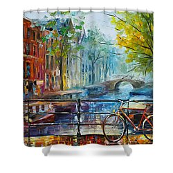 Bicycle In Amsterdam Shower Curtain by Leonid Afremov