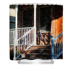 Bicycle On Porch Shower Curtain by Susan Savad