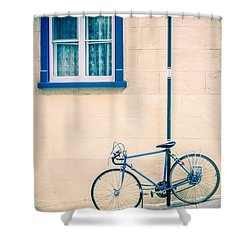 Bicycle On The Streets Of Old Quebec City Shower Curtain by Edward Fielding