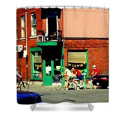 Bicycle Path At Wilenskys Diner Rue Fairmount And Clark Montreal Cafe Street Scene Carole Spandau Shower Curtain by Carole Spandau