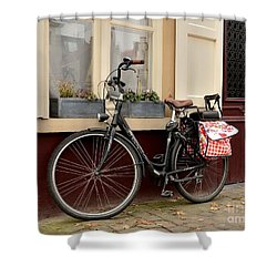 Bicycle With Baby Seat At Doorway Bruges Belgium Shower Curtain by Imran Ahmed