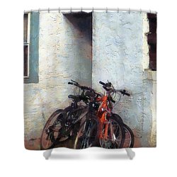 Bicycles In Yard Shower Curtain by Susan Savad