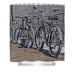 Bicycles On A Rail Shower Curtain by Joyce  Wasser