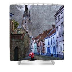 Bicycling Through Bruges Shower Curtain by Juli Scalzi