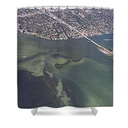 Bidr's Eye View Of Beautiful Miami Beachfront Shower Curtain by Angela A Stanton