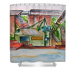 Big Andy Terminal On Ohio River Shower Curtain by Elaine Duras