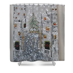 Shower Curtain featuring the painting Big Apple Christmas by Sharyn Winters