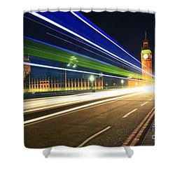 Big Ben And A Bus Shower Curtain