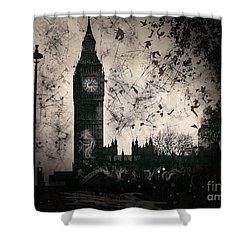 Big Ben Black And White Shower Curtain