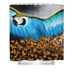 Big Blue Bird Shower Curtain