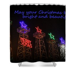 Big Bright Christmas Greeting  Shower Curtain